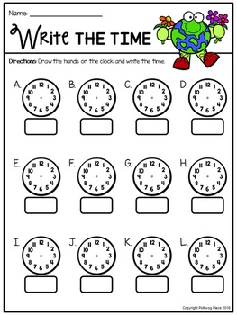 Telling Time Around the Room: Earth Day