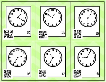 Telling Time Around the Room with QR Codes (5 minute intervals)