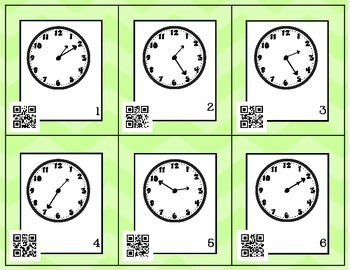 Telling Time Around the Room SCOOT with QR Codes (5 minute intervals)