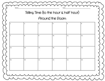Telling Time Around the Room SCOOT with QR Codes (Hour/Half Hour)