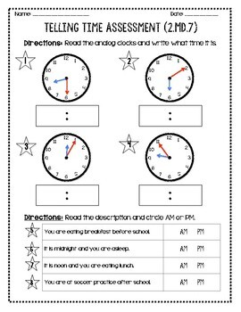 Telling Time Assessment (2.MD.7)