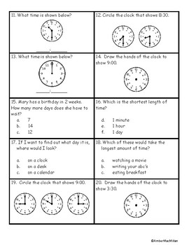 Telling Time Assessment
