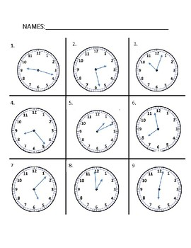 Telling Time Assessment Choice Card