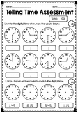Telling Time Assessment - Quarter Hour, Half Hour, Hour