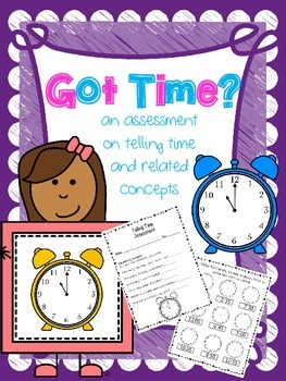 Telling Time Assessment - hour, half hour, 5 minute intervals