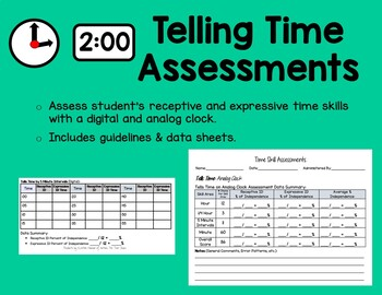 Telling Time Assessments for ABA, Autism Classroom, or Ele