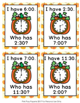 Telling Time Autumn Pumpkins I Have Who Has? Game
