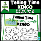Telling Time Game BINGO to Nearest 1 Minute
