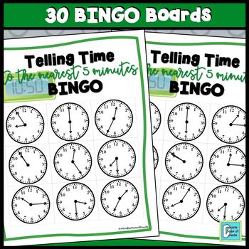Telling Time BINGO - 5 Minute