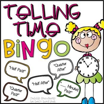 Telling Time BINGO (Half past, Quarter after, __ Minutes after)