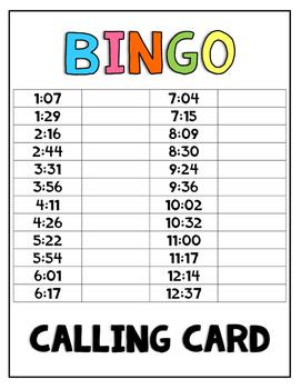 Telling Time BINGO - Nearest Minute