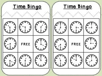 Telling Time Bingo (First Grade, 1.MD.3)