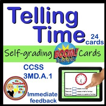 Telling Time - to the 5 Minutes BOOM Cards! (24 Cards)