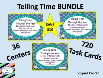 Telling Time BUNDLE--3 Sets of 240 task cards each