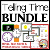 Telling Time BUNDLE - Bingo, Task Cards, & Worksheets w/ Riddles!