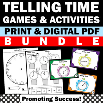 Telling Time Activities Task Cards Worksheets & Games Math