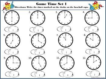 Telling Time Baseball
