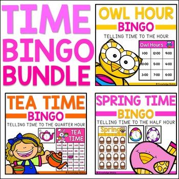 Telling Time Bingo - BUNDLE - Nearest Hour, Half Hour, and Quarter Hour