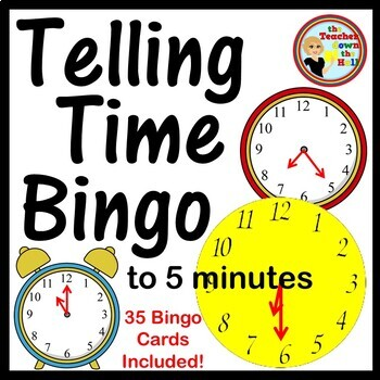 Telling Time Bingo (to the 5 min.)  Classroom Activity w/ 35 Bingo Cards!