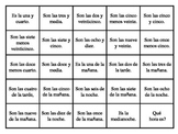 Telling Time Bingo Game
