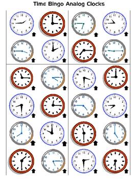 Telling Time Bingo Games