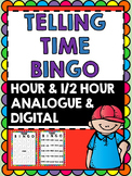 Telling Time Bingo - Hour and Half Hour Bingo -Clock Bingo- Time Bingo (10Cards)