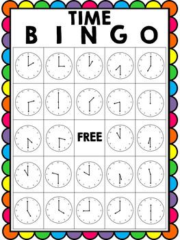 Telling Time Bingo - Hour and Half Hour Bingo -Clock Bingo- Time Bingo (10Cards)