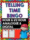 Telling Time Bingo - Hour and Half Hour Bingo -Clock Bingo
