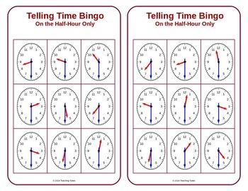 Telling Time Half Hour Bingo