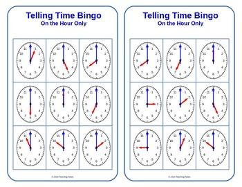 Telling Time Hour Bingo