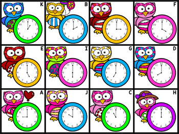 Telling Time Bingo - Owl Hour - Telling Time to the Nearest Hour - FREE
