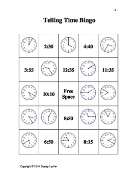 Telling Time Bingo - Telling time to 5 minute intervals version