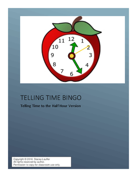 Telling Time Bingo - Telling time to the half hour