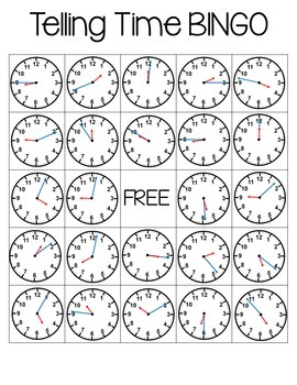 Telling Time Bingo (To the Minute)