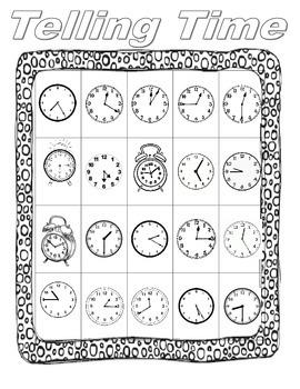 Telling Time Bingo-quarter and half past