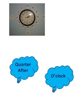 Telling Time Decoration for Classroom Clock Blue Clouds