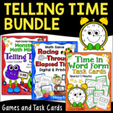Telling Time Bundle | Time in Word Form | Elapsed Time | Games and Task Cards