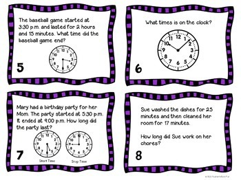 Telling Time Bundle 2nd and 3rd Grade with 2 Sets Task Cards