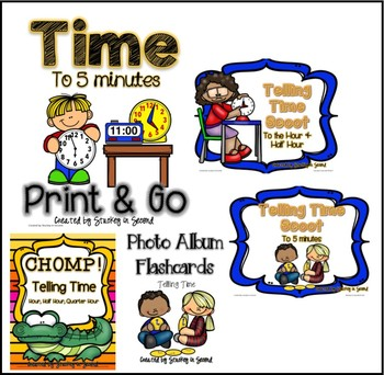 Telling Time Bundle: Reading Clocks to the Hour, Half Hour, and 5 Minutes