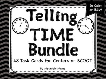 Telling Time Bundle of 48 Task Cards for Centers or SCOOT