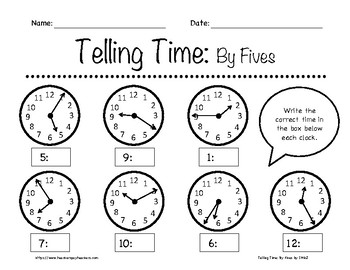 telling time by fives worksheets 1st 3rd grade by in the name of jesus. Black Bedroom Furniture Sets. Home Design Ideas