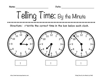 telling time by the minute worksheets 1st 3rd grade by in the name of jesus. Black Bedroom Furniture Sets. Home Design Ideas