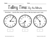 Telling Time: By the Minute Worksheets 1st-3rd Grade