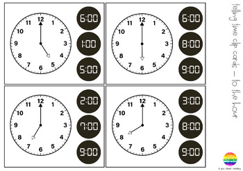 Learning To Tell Time - Hour and Half Hour Time Pack