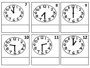 Telling Time Center (hour and half hour)