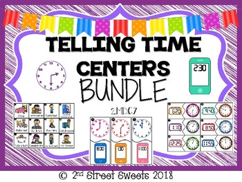 Telling Time BUNDLE Centers 2.MD.C.7 - GO MATH! Chapter 7