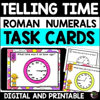 Telling Time Challenge with Roman Numerals (24 task cards)