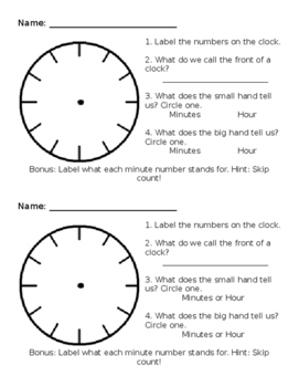 Telling Time Check In - Editable
