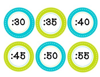 Telling Time Circles for Classroom Clock in Blue and Green