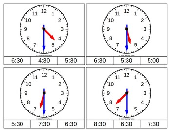 Telling Time Half Hour Clip Cards